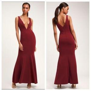 Adelina Burgundy Sleeveless Mermaid Maxi Dress